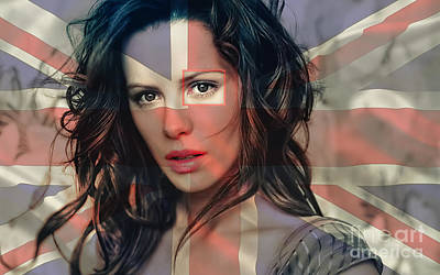 Flag Mixed Media - Kate Beckinsale by Marvin Blaine