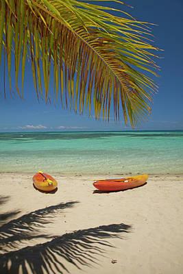 Kayaks On The Beach, Plantation Island Art Print