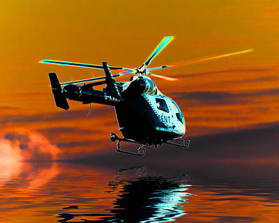 Helicopter Digital Art - Kent Air Ambulance by Sharon Lisa Clarke