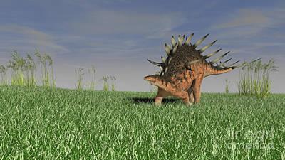 Digital Art - Kentrosaurus Walking Across A Grassy by Kostyantyn Ivanyshen