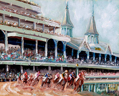 Note Card Painting - Kentucky Derby by Todd Bandy