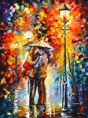 Park Scene Painting - Kiss Under The Rain by Leonid Afremov