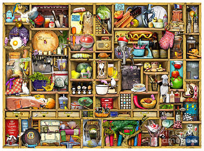 Kitchen Cupboard Art Print by Colin Thompson