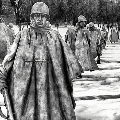 Painting - Korean War Memorial Washington Dc by Bob and Nadine Johnston