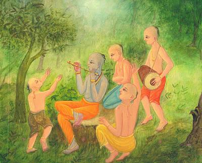 Mixed Media - Krishna Music Party by Prakash Leuva