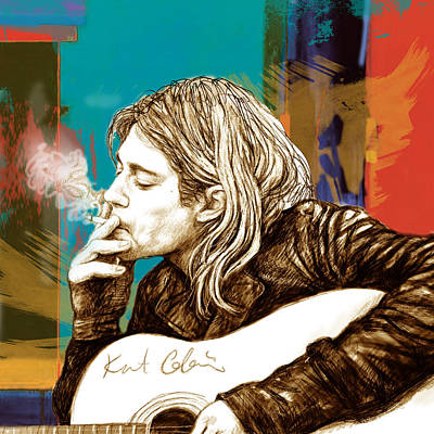 Kurt Cobain Painting - Kurt Cobain Stylised Pop Morden Art Drawing Sketch Portrait by Kim Wang