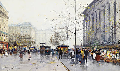Jacques Painting - La Madeleine Paris by Eugene Galien-Laloue