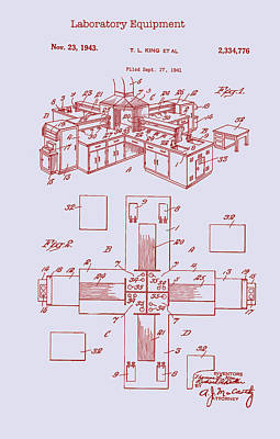 Drawing - Laboratory Equipment Patent 1943 by Mountain Dreams