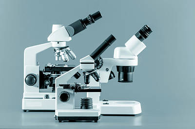Scrutiny Photograph - Laboratory Microscope by Wladimir Bulgar