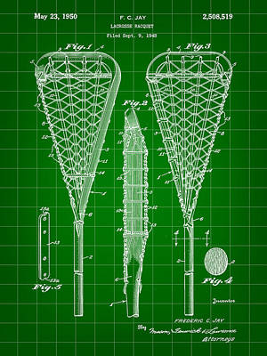 Lacrosse Stick Patent 1948 - Green Art Print by Stephen Younts