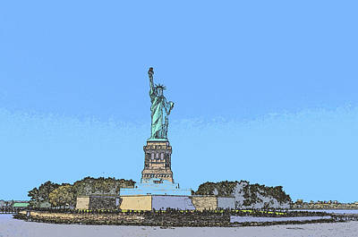 Photograph - Lady Liberty 10 - Digital Painting by Allen Beatty