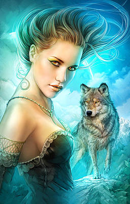Digital Art - Lady Wolf by Shannon Maer
