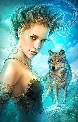 Lady Wolf Art Print by Shannon Maer