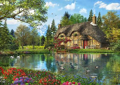 Lake View Cottage Art Print