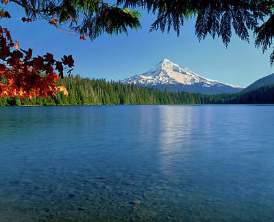 Lake With Mountain In The Background Art Print