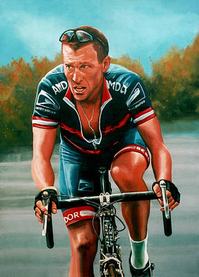 Bicycling Painting - Lance Armstrong by Paul Meijering