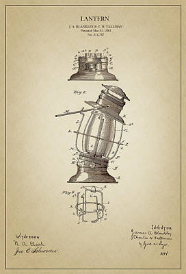 Old Lamp Drawing - Lantern Design Drawing - 1885 by Ambro Fine Art