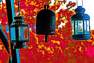 Photograph - 2 Lanterns And A Bell by Joseph Coulombe