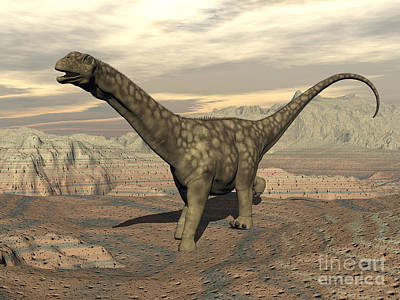 Rocky Digital Art - Large Argentinosaurus Dinosaur Walking by Elena Duvernay
