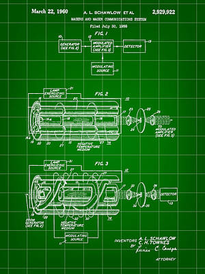 Lithography Digital Art - Laser Patent 1958 - Green by Stephen Younts