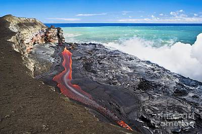 Lava Flowing Into Ocean, Hawaii Print by David Nunuk