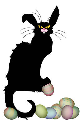 Spoof Digital Art - Le Chat Noir - Easter by Gravityx9  Designs