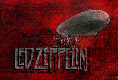 Band Digital Art - Led Zeppelin by Jack Zulli