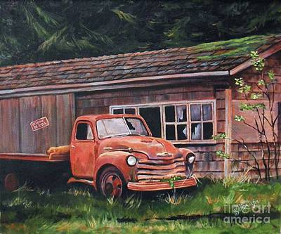 Old Barns Painting - Left Behind by Suzanne Schaefer