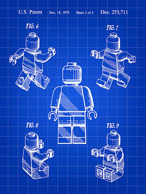 Lego Figure Patent 1979 - Blue Art Print