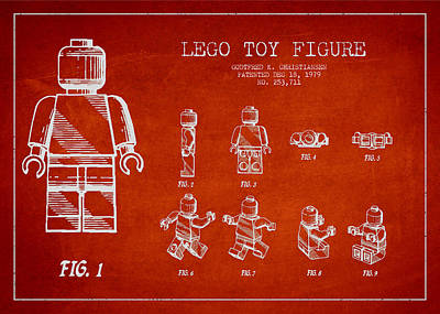 Spaceman Digital Art - Lego Toy Figure Patent Drawing by Aged Pixel