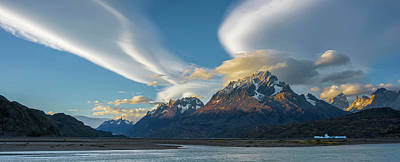 Grey Clouds Photograph - Lenticular Clouds Over Mountain Peaks by Panoramic Images