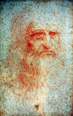 Self-portrait Drawing - Leonardo Da Vinci (1452-1519) by Granger