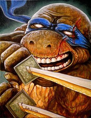 Teenage Mutant Ninja Turtles Painting - Leonardo Unleashed by Al  Molina