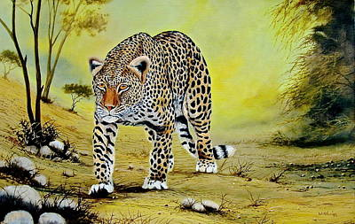 Painting - Leopard On The Move by Wycliffe Ndwiga