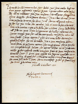 Autograph Photograph - Letter Of Michelangelo by British Library