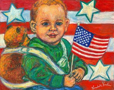 Boy With Teddy Painting - Liberty by Kendall Kessler