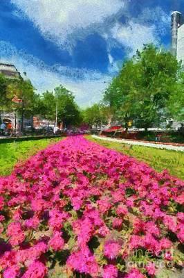 Amsterdam Painting - Liedseplein Square In Amsterdam by George Atsametakis