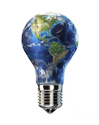 Responsibility Digital Art - Light Bulb With Planet Earth by Leonello Calvetti