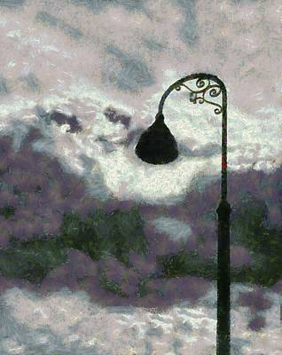Lamp Post Digital Art - Light In The Sky by Barbara Snyder