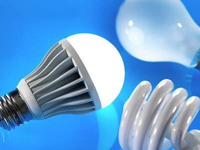 Led Lights Photograph - Lightbulbs by Tek Image