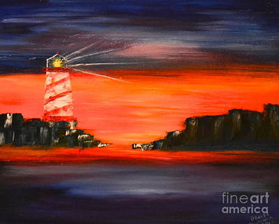 Art Print featuring the painting Lighthouse Bay by Denise Tomasura