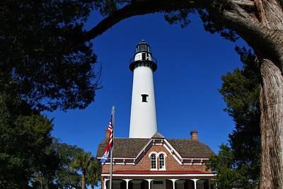 Photograph - Lighthouse By Blue Sky by Kathryn Meyer