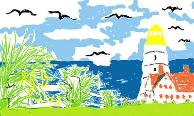 Lighthouse By The Sea Art Print by Joe Dillon