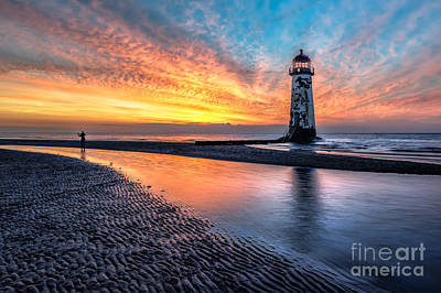 Turbines Photograph - Lighthouse Sunset by Adrian Evans