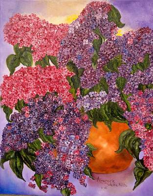 Painting - Lilacs Galore by Annamarie Sidella-Felts