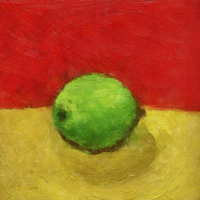 Lime With Red And Gold Art Print by Michelle Calkins