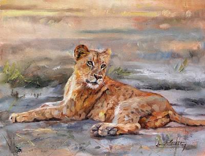 Lion Cub Art Print by David Stribbling