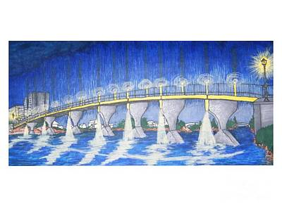Lit Bridge Art Print