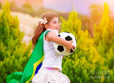 Little Active Football Fan Art Print by Anna Om