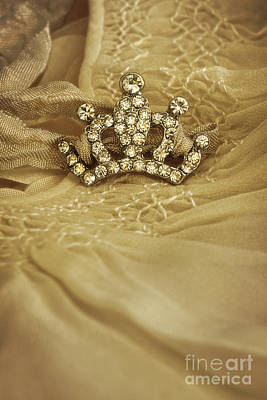 Photograph - Little Crown Laying On Old Baby Dress by Sandra Cunningham